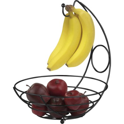 Home Basics Wire Collection Black Fruit Bowl with Banana Tree