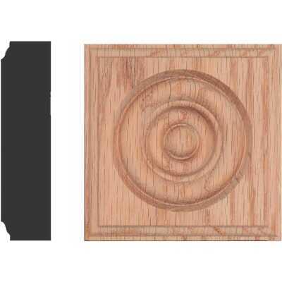 House of Fara 7/8 In. x 3-1/2 In. Unfinished Red Oak Rosette Block