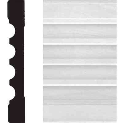 House of Fara 3/4 In. W. x 5-1/4 In. H. x 8 Ft. L. White MDF Fluted Casing Molding