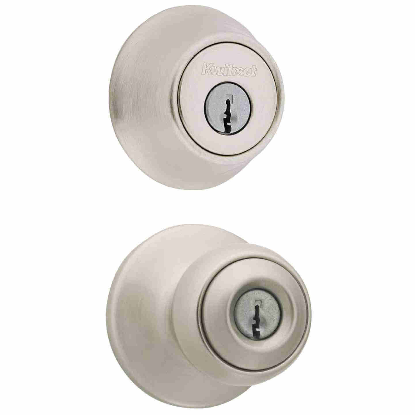 Kwikset Polo Satin Nickel Deadbolt and Door Knob Combo Image 1