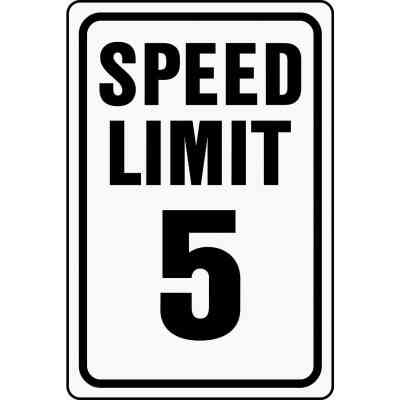 Hy-Ko Heavy-Duty Aluminum Sign, Speed Limit 5