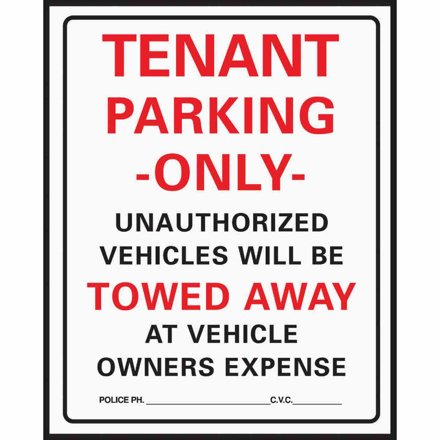 Hy-Ko Commercial Grade Plastic Sign, Tenant Parking Only Image 1