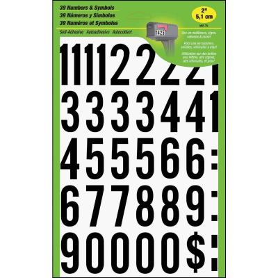 Hy-Ko 2 In. Polyester Adhesive Number Set, 33 Numbers
