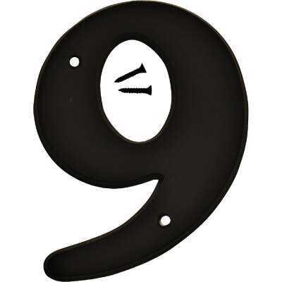 Hy-Ko 6 In. Black Gloss House Number Nine