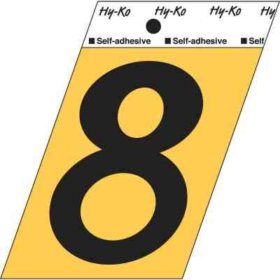 Hy-Ko Aluminum 3-1/2 In. Non-Reflective Adhesive Number Eight
