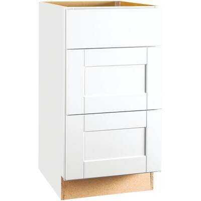Continental Cabinets Andover Shaker 18 In. W x 34-1/2 In. H x 24 In. D White Thermofoil Drawer Base Kitchen Cabinet