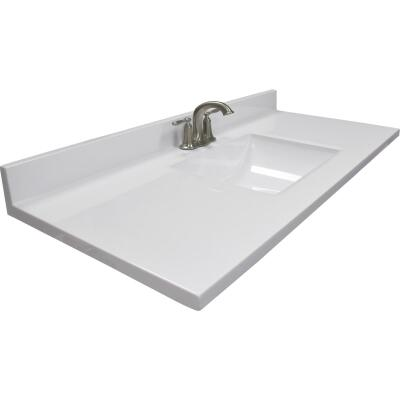 Modular Vanity Tops 49 In. W x 22 In. D Solid White Cultured Marble Vanity Top with Rectangular Wave Bowl