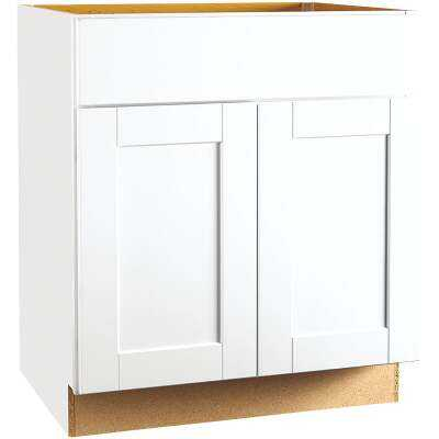 Continental Cabinets Andover Shaker 30 In. W. x 34-1/2 In. H. x 24 In. D. White Thermofoil Sink Base Kitchen Cabinet