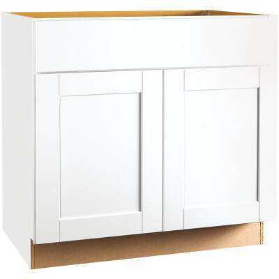 Continental Cabinets Andover Shaker 36 In. W. x 34-1/2 In. H. x 24 In. D. White Thermofoil Sink Base Kitchen Cabinet
