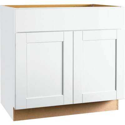 Continental Cabinets Andover Shaker 36 In. W x 34-1/2 In. H x 21 In. D White Vanity Sink Base
