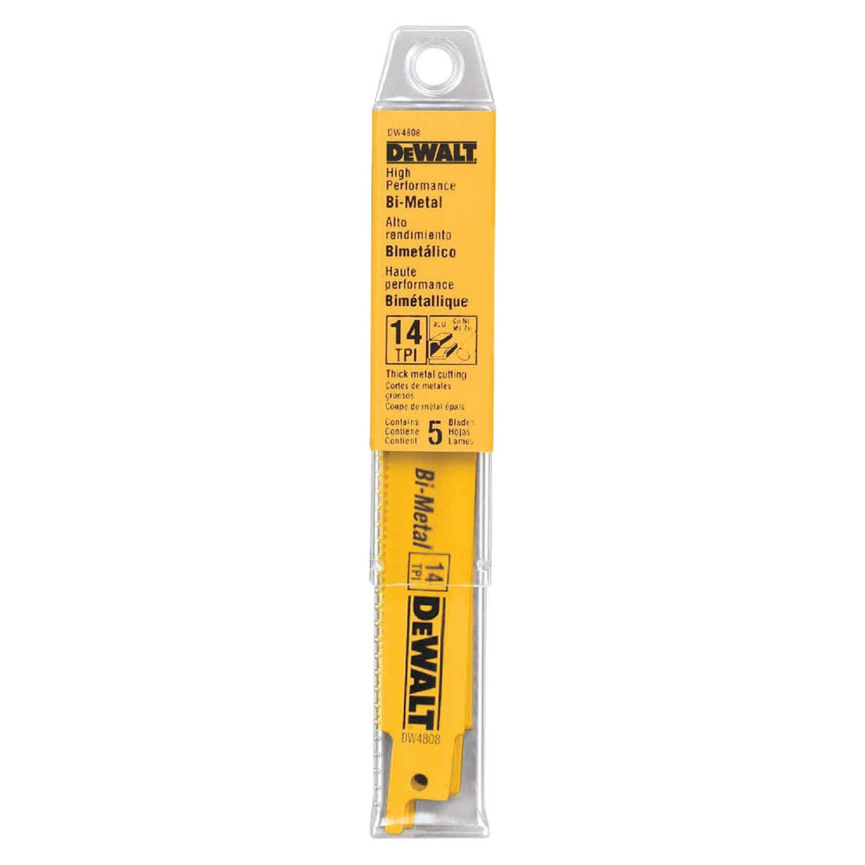 DeWalt 6 In. 14 TPI Thick Metal Reciprocating Saw Blade (5-Pack) Image 2