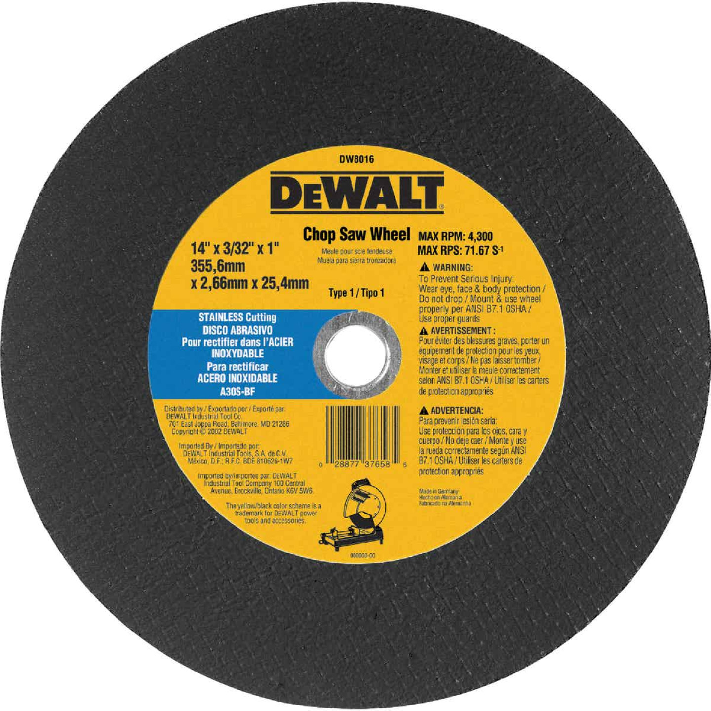 DeWalt HP Type 1 14 In. x 7/64 In. x 1 In. Stainless Steel Cut-Off Wheel Image 1