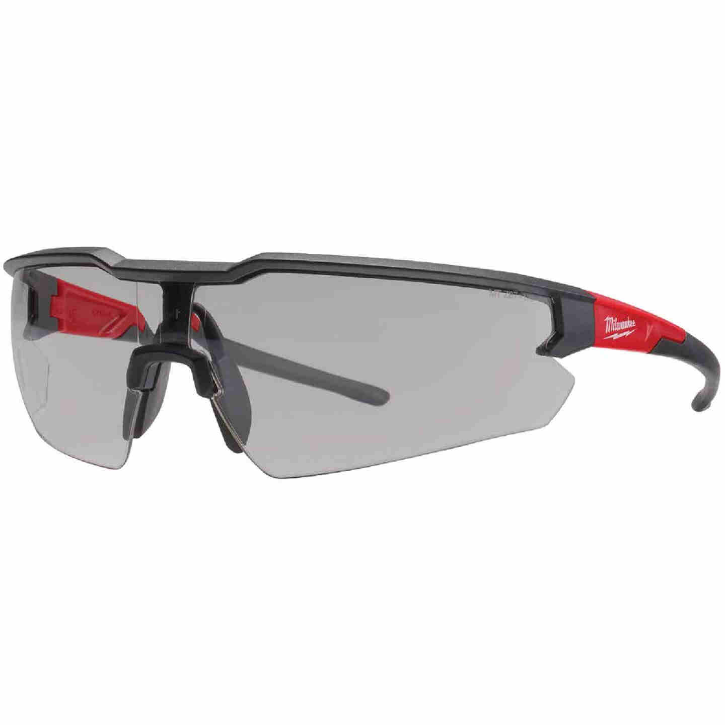 Milwaukee Red & Black Frame Safety Glasses with Gray Anti-Scratch Lenses Image 1