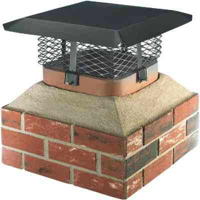 Shelter Adjustable Black Galvanized Steel Single Flue Chimney Cap