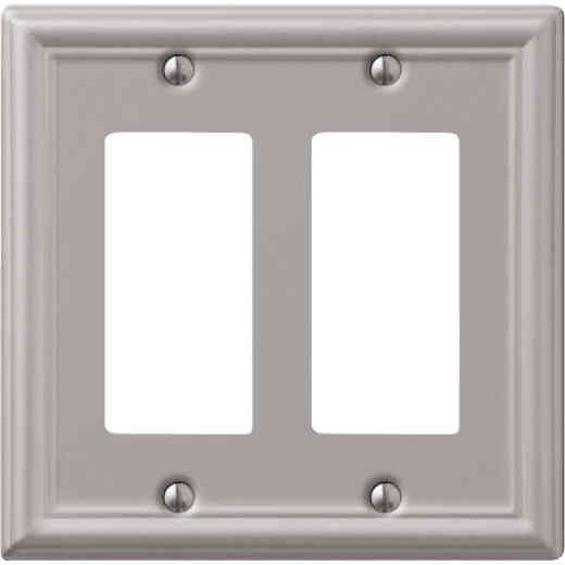 Amerelle Chelsea 2-Gang Stamped Steel Rocker Decorator Wall Plate, Brushed Nickel