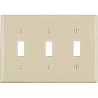 Leviton 3-Gang Thermoplastic Nylon Toggle Switch Wall Plate, Light Almond