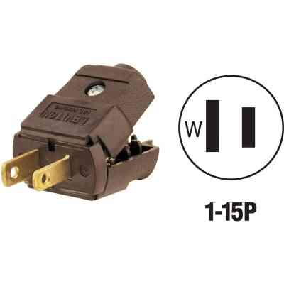 Leviton 15A 125V 2-Wire 2-Pole Hinged Cord Plug, Brown