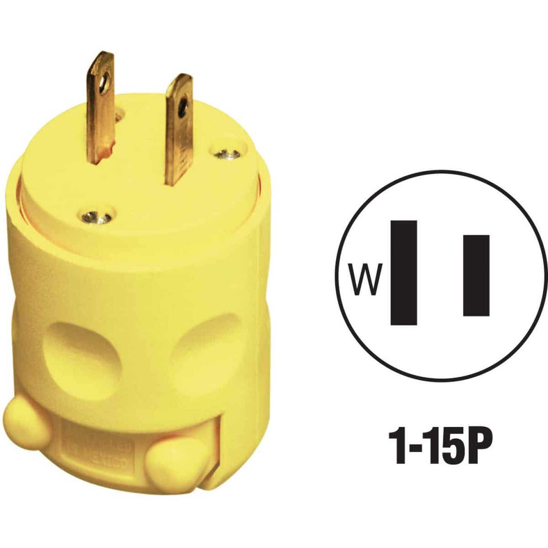 Leviton 15A 125V 2-Wire 2-Pole Residential Grade Cord Plug, Yellow Image 1