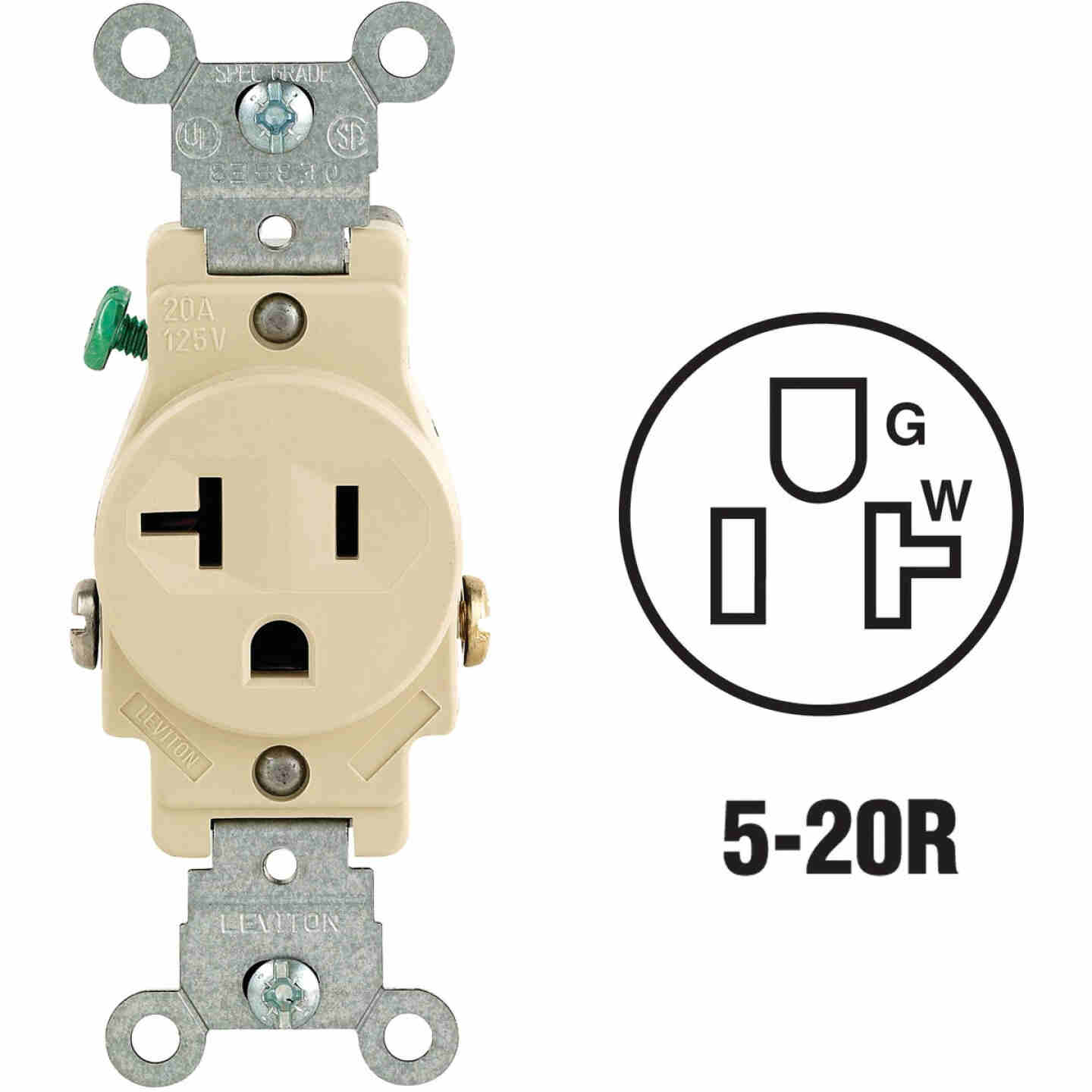 Leviton 20A Ivory Commercial Grade 5-20R Shallow Single Outlet Image 1
