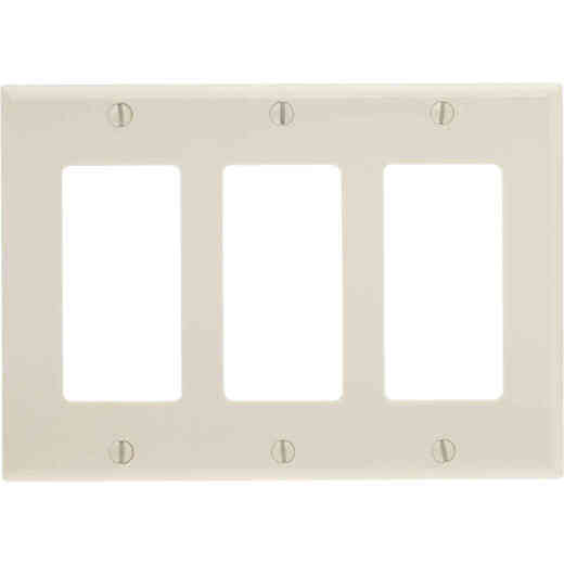 Leviton Decora 3-Gang Smooth Plastic Rocker Decorator Wall Plate, Light Almond