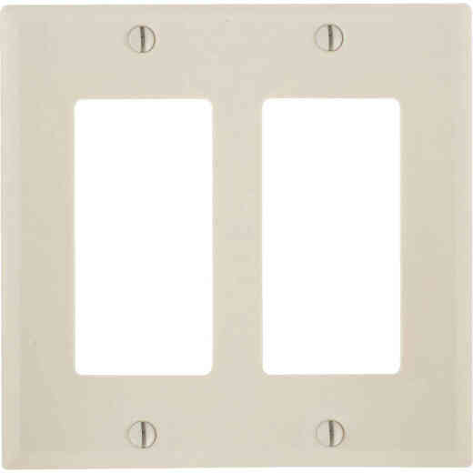Leviton Decora 2-Gang Smooth Plastic Rocker Decorator Wall Plate, Light Almond