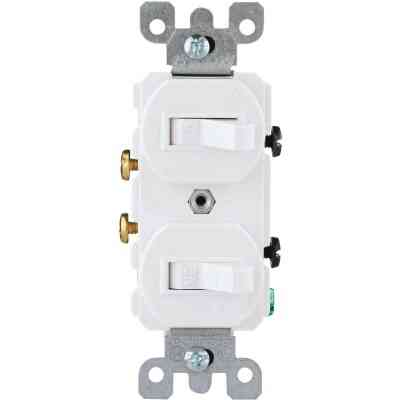 Leviton Single Pole White 15A Quiet Duplex Switch