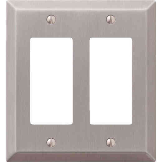 Amerelle 2-Gang Stamped Steel Rocker Decorator Wall Plate, Brushed Nickel