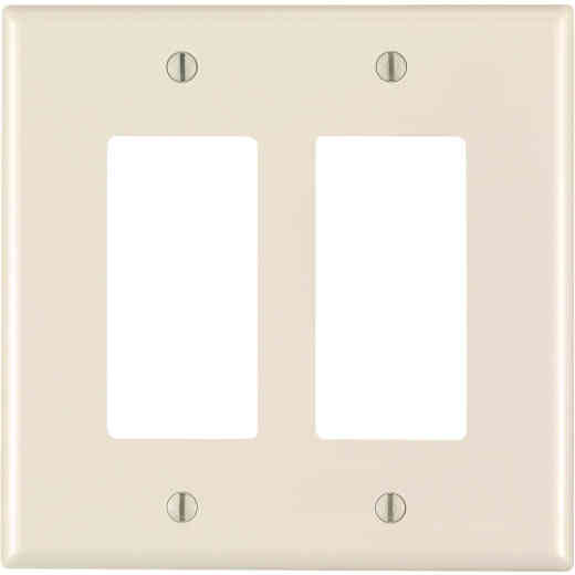 Leviton Decora 2-Gang Thermoplastic Nylon Mid-Way Rocker Wall Plate, Light Almond