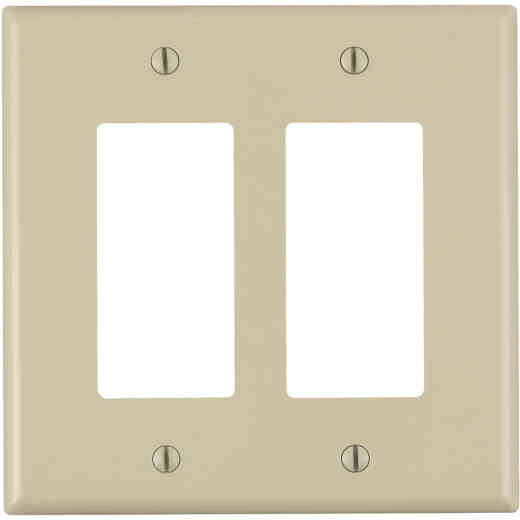 Leviton Decora 2-Gang Thermoplastic Nylon Mid-Way Rocker Wall Plate, Ivory