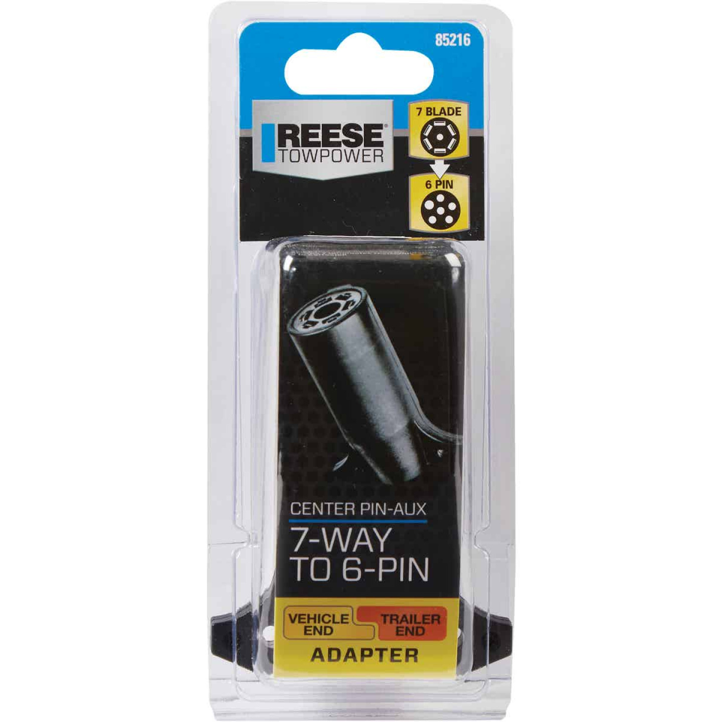 Reese Towpower 7-Blade to 6-Pin Center Pin Auxiliary Plug-In Adapter Image 2