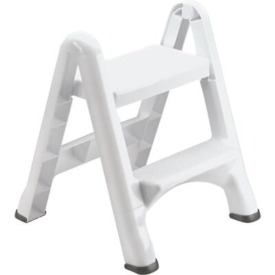 Rubbermaid White 2-Step Folding Step Stool