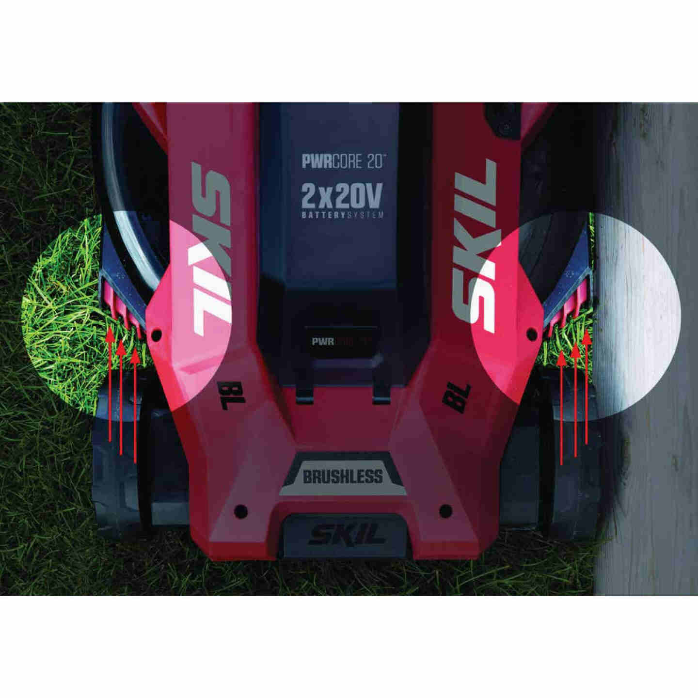 SKIL PwrCore 20V Brushless Push Lawn Mower with Two 4.0 Ah Batteries and Dual Port Charger Image 5