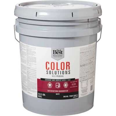 Do it Best Color Solutions 100% Acrylic Latex Self-Priming Flat Exterior House Paint, White, 5 Gal.