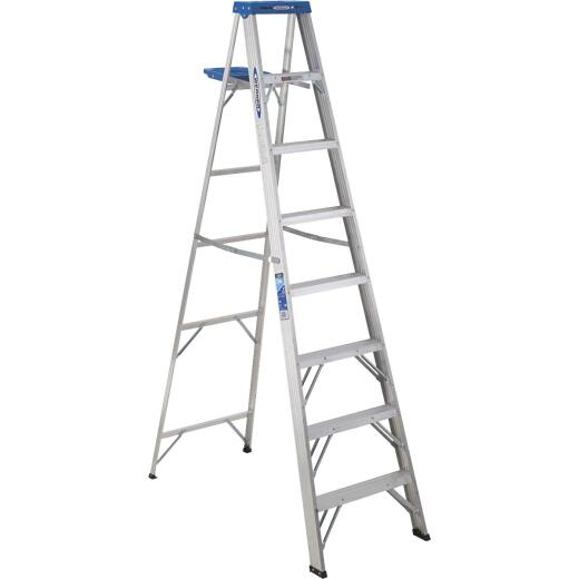 Werner 8 Ft. Aluminum Step Ladder with 250 Lb. Load Capacity Type I Ladder Rating