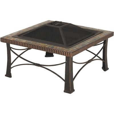 Outdoor Expressions 30 In. Slate Square Steel Fire Pit