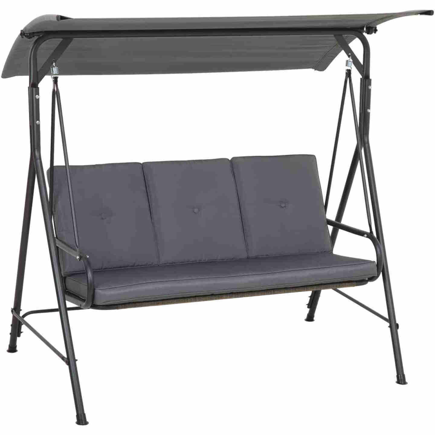 Outdoor Expressions 3-Person 71.65 In. W. x 66.93 In. H. x 49.21 In. D. Gray Patio Swing Image 1