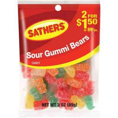 Gurley's Assorted Sour Fruit Flavors 2.5 Oz. Gummy Bears